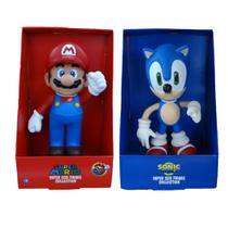 Sonic e Super Mario Bros Collection - 2 Bonecos Grandes - Super Size Figure Collection