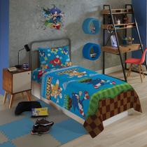 Sonic  Jogo De Cama Microfibra 3 Peças Lepper Infantil Solteiro -