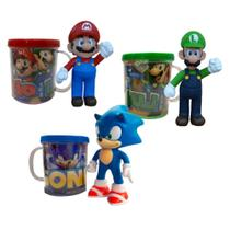 Sonic, Mario e Luigi - Kit com 3 bonecos + canecas personalizadas - Super Size Figure Collection