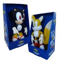 Sonic Preto e Tails Collection Original - 2 Bonecos Grandes - Super Size Figure Collection