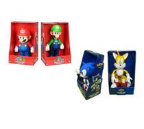 Sonic Tails Super Mario Luigi - 4 Bonecos Grandes - Nintendo