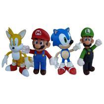 Sonic Tails Super Mario Luigi - 4 Bonecos Grandes - Super Size Figure Collection