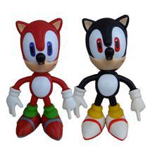 Sonic Vermelho e Sonic Preto Collection Original - 2 Bonecos Grandes - Super Size Figure Collection