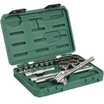 Soquete Encaixe 1/2 POL Jogo 10 à 32 mm c/ 18 peças SATA -