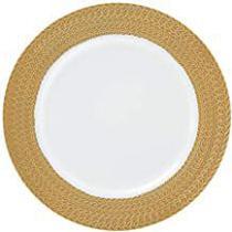 Sousplat 33cm branco e dourado - Rafimex