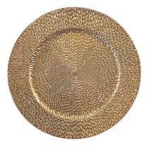 Sousplat Bandeja 32cm - Dourado com Relevo em Gotas - Amigold