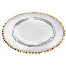 Sousplat Bolinha em Cristal Ecologico 31,5CM Dourado L Hermitage 26197 -