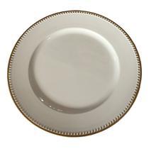 Sousplat branco com detalhes dourado - Btc