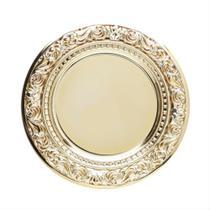 Sousplat de Plástico Espelhado Castle 33cm Dourado - Lyor -