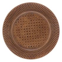 Sousplat de Plástico Textura Rattan Marrom 33cm - Rojemac