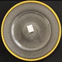 Sousplat De Vidro Com Borda Dourada Incolor 32cm - Mp3
