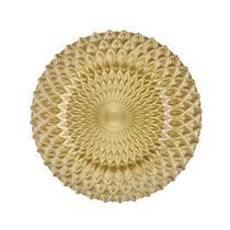 Sousplat em vidro Ricaelle 32,5cm dourado -