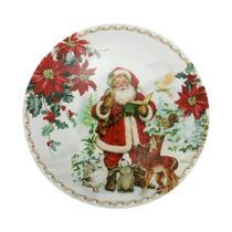Sousplat Natal Lugar Americano Redondo 33cm Polipropileno Papai Noel BicoPapagaio Decoração Enfeite - Magizi