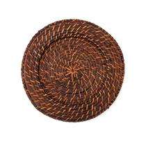 Sousplat Redondo Marrom em Rattan e Bambu Rústico Artesanal 32cm - Mundiart