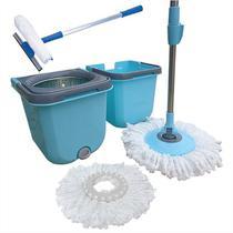 Spin Mop Cesto Inox Com 2 Refis  + Rodo Limpa Vidros 50 Cm - Vendasshop utensilios de limpeza