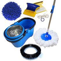 Spin Mop Esfregão Cabo 1,60 Metros Com 3 Refis + Limpador Magnético - Vendasshop utensilios de limpeza