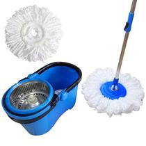 Spin Mop Esfregão Cesto Inox Cabo 1,60 Metros Com 2 Refis Microfibra - Vendasshop utensilios de limpeza