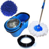 Spin Mop Esfregão Com Cesto Inox Cabo 1,60 Mts C/ 3 Refis: 1 Microfibra, 1 Limpeza Pó, 1 Limpeza Pesada - Vendasshop utensilios de limpeza