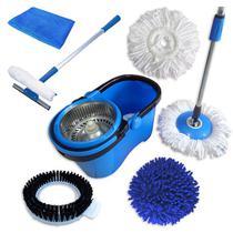 Spin Mop Perfect Mop Pro + Rodo Limpa Vidros 50 Cm + Pano Microfibra - Vendasshop utensilios de limpeza
