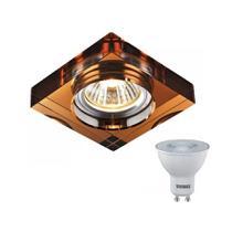 Spot Embutir De Cristal Quadrado Cobre Dicroica  Ac594 + LED Mr16 Branco Quente - Acende A Luz