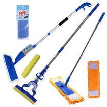 Spray Mop + Mop Tira Pó + Rodo Mágico Dobrável Kit Com Refis Extras - Vendasshop utensilios de limpeza
