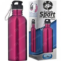 Squeeze Garrafa Sport Mor 750ml com Mosquetao Cor Pink -