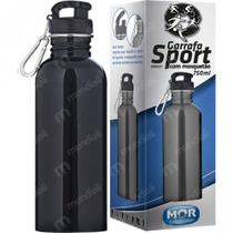 Squeeze Garrafa Sport Mor 750ml com Mosquetao Cor Preto -