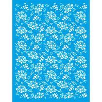 Stencil de Parede Wall Litoarte 32 x 42,2 cm - STW-033 Textura Flores -
