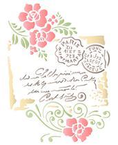 Stencil Especial Pintura Carta Selo Flores 21,1X17,2 STM-592 - Litoarte -