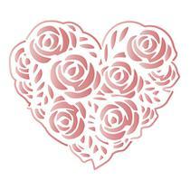 Stencil Especial Pintura Coração de Rosas 10X10 STX-352 - Litoarte -