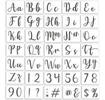 Stencil Letras Alfabeto Cursivo Números 35 Peças 10x7cm - Submoda Stencil
