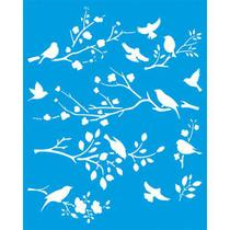Stencil Litoarte 20 x 25 cm - STR-073 Pássaros e Galhos -