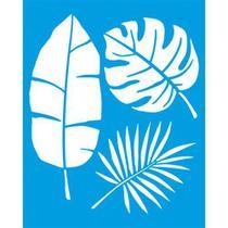 Stencil Litoarte 20 x 25 cm - STR-076 Folhas Tropicais -