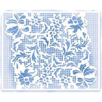 Stencil Litoarte 20,5x16,6 STA2-028 Arranjo de Flores Rendado -