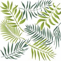 Stencil Litoarte 20x20 STXX-065 Estampa de Folhas Tropicais -