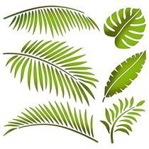 Stencil Litoarte 20x20 STXX-133 Folhas Tropicais -