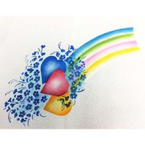 Stencil Litoarte 34,4x21 ST1-021 Corações com Flores -