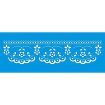Stencil Litoarte  6,5 x 17 cm - STP-116 Barrado, Flores Rendadas -