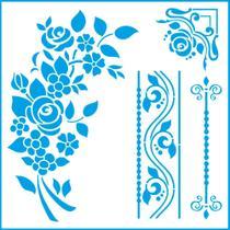 Stencil Litoarte Mara Fernandes 20 x 20 cm - STXX-192 Flores, Arabescos e Cantoneira -