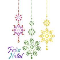 Stencil Litoarte Natal 17,2x21,1 STMN-038 Flocos de Gelo Pendurados -