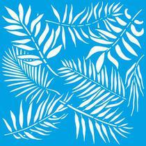 Stencil Litoarte Rose Ferreira 20 x 20 cm - STXX-065 Estampa De Folhas Tropicais -
