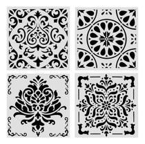Stencil Mandala Arabesco Pintura Decor 4 Peças 20cm Cada - Submoda Stencil