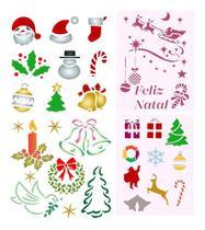 Stencil Molde Feliz Natal Estêncil Kit Diversos Natalinos - Submoda Stencil