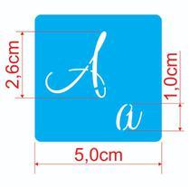 Stencil Molde Vazado Abecedário Com Letras E Números 5 x 5cm - Dayart