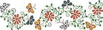 Stencil Pintura Época 8,4x28,5 Flores e Borboleta STE-139 - Litoarte -