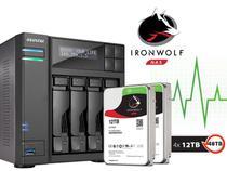 Storage NAS Asustor INTEL Quad Core J3160 1,6GHZ 4GB DDR3 Torre 48TB com Disco AS6204T48000 -
