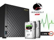 Storage NAS com Disco Ironwolf Asustor AS3104T8000 Celeron Dual Core 1,6GHZ 2GB DDR3 Torre 8TB -