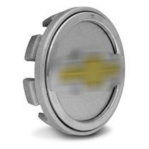 Sub Calota Centro Miolo de Roda Chevrolet 51mm Prata e Dourado - Emblemax