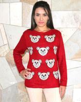Suéter Feminino em Tricô em Lã com Desenho de Urso Kinara Vermelho 10108V -