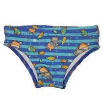Sunga bebe menino com proteção solar azul com hipopótamo - marca Tip Top -